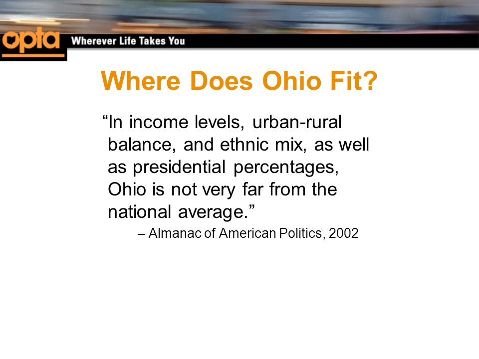 "Where Does Ohio Fit? ""In income levels, urban-rural balance, and ethnic mix, as well as presidential percentages, Ohio is not very far from the nation"