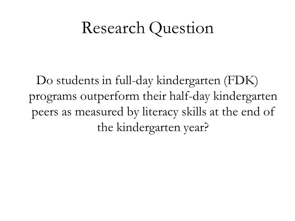 Literature Review Observational studies using ECLS-K –Research generally finds positive effects of FDK participation at the end of the kindergarten year (Cannon et al, 2006; Lee et al, 2006; DiCicca, 2007; Votruba-Drzal et al, 2008).