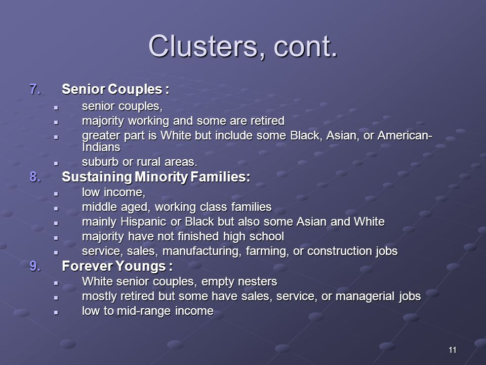 11 7.Senior Couples : senior couples, senior couples, majority working and some are retired majority working and some are retired greater part is White but include some Black, Asian, or American- Indians greater part is White but include some Black, Asian, or American- Indians suburb or rural areas.