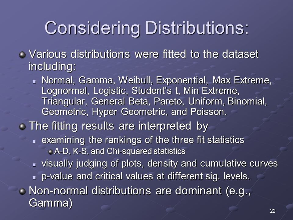 22 Considering Distributions: Various distributions were fitted to the dataset including: Normal, Gamma, Weibull, Exponential, Max Extreme, Lognormal, Logistic, Student's t, Min Extreme, Triangular, General Beta, Pareto, Uniform, Binomial, Geometric, Hyper Geometric, and Poisson.