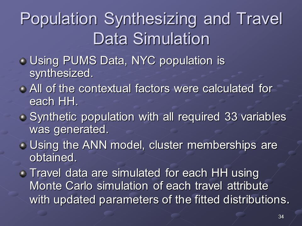 34 Population Synthesizing and Travel Data Simulation Using PUMS Data, NYC population is synthesized.