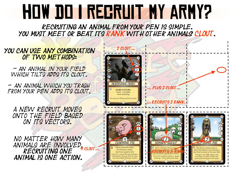 how do I recruit my army. Recruiting an animal from your pen is simple.