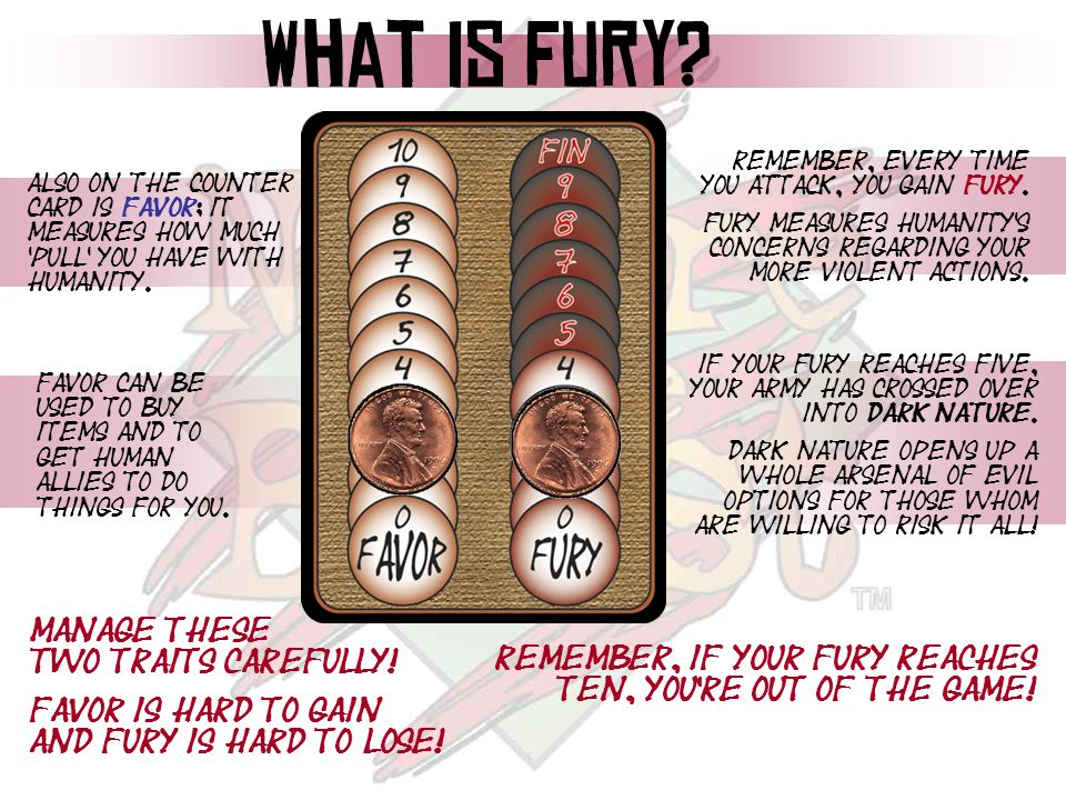 What is Fury? Remember, Every time you attack, you gain fury. Fury measures humanity's concerns regarding your more violent actions. If your fury reac