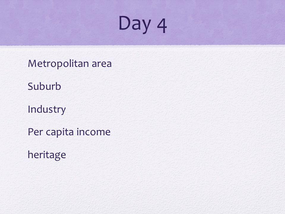 Day 4 Metropolitan area Suburb Industry Per capita income heritage