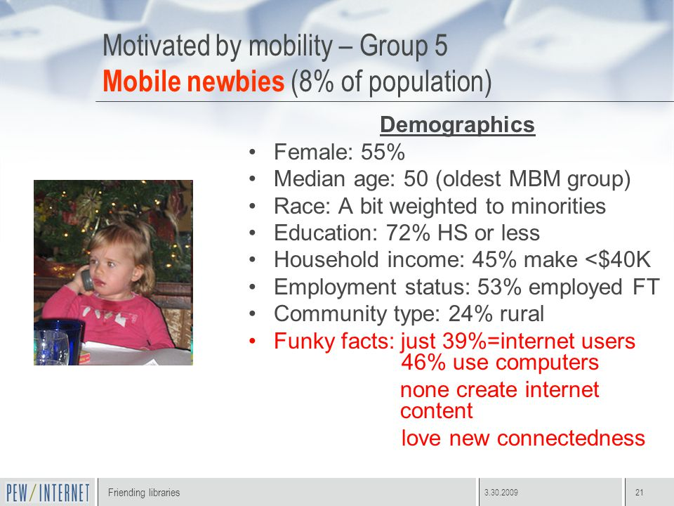 Friending libraries 3.30.200921 Motivated by mobility – Group 5 Mobile newbies (8% of population) Demographics Female: 55% Median age: 50 (oldest MBM group) Race: A bit weighted to minorities Education: 72% HS or less Household income: 45% make <$40K Employment status: 53% employed FT Community type: 24% rural Funky facts: just 39%=internet users 46% use computers none create internet content love new connectedness