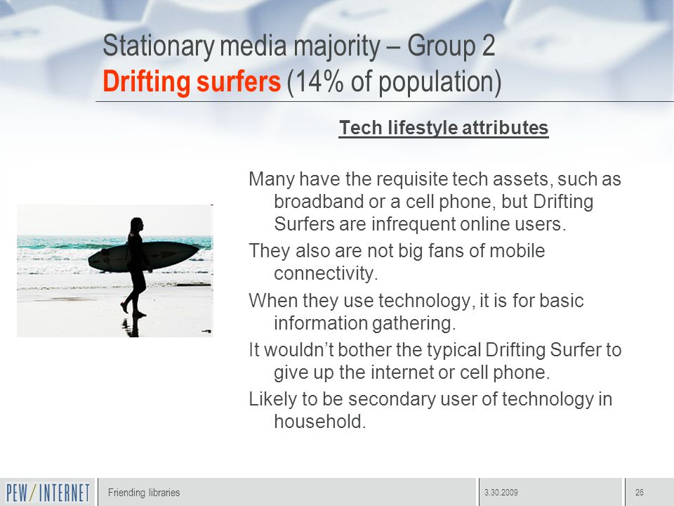 Friending libraries 3.30.200926 Stationary media majority – Group 2 Drifting surfers (14% of population) Tech lifestyle attributes Many have the requisite tech assets, such as broadband or a cell phone, but Drifting Surfers are infrequent online users.