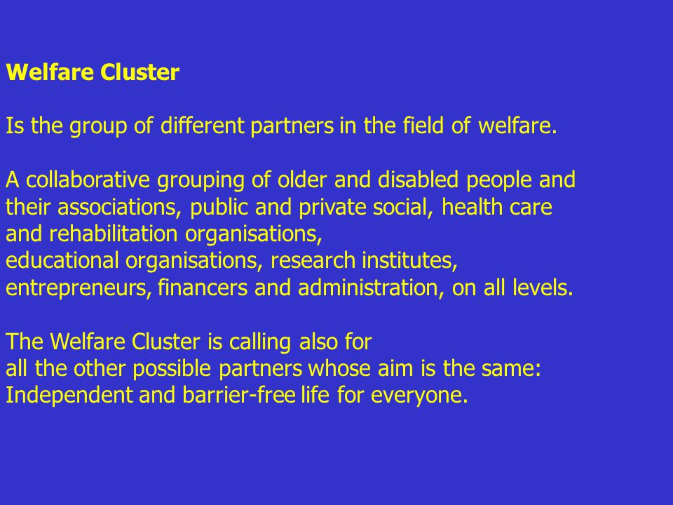 Welfare Cluster Is the group of different partners in the field of welfare.