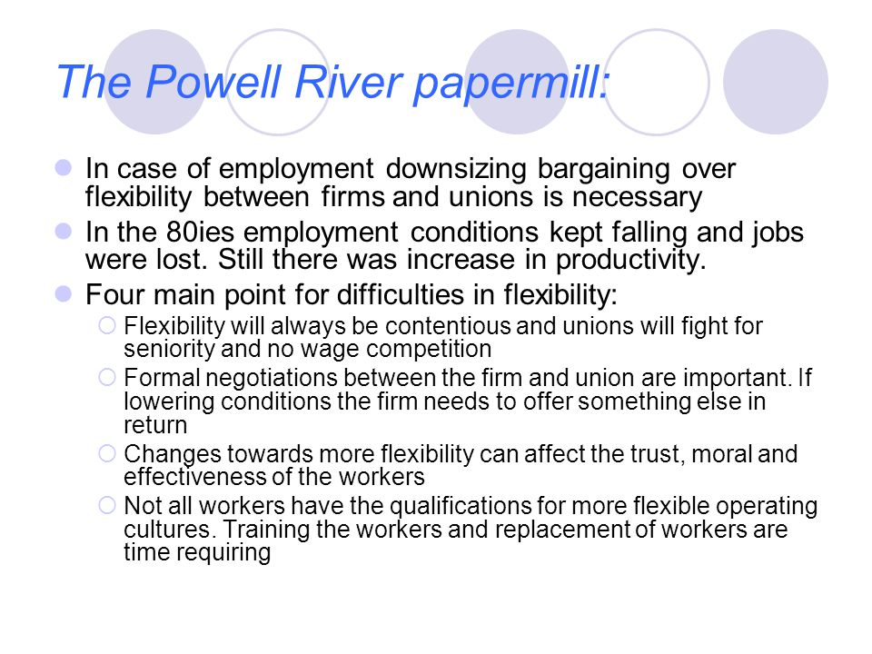 The Powell River papermill: In case of employment downsizing bargaining over flexibility between firms and unions is necessary In the 80ies employment conditions kept falling and jobs were lost.