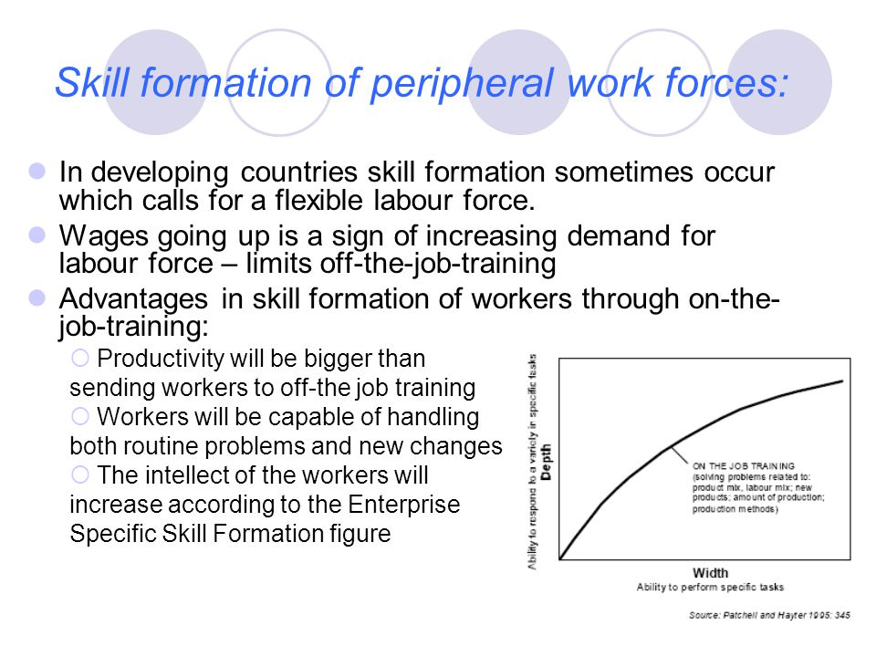 Skill formation of peripheral work forces: In developing countries skill formation sometimes occur which calls for a flexible labour force.