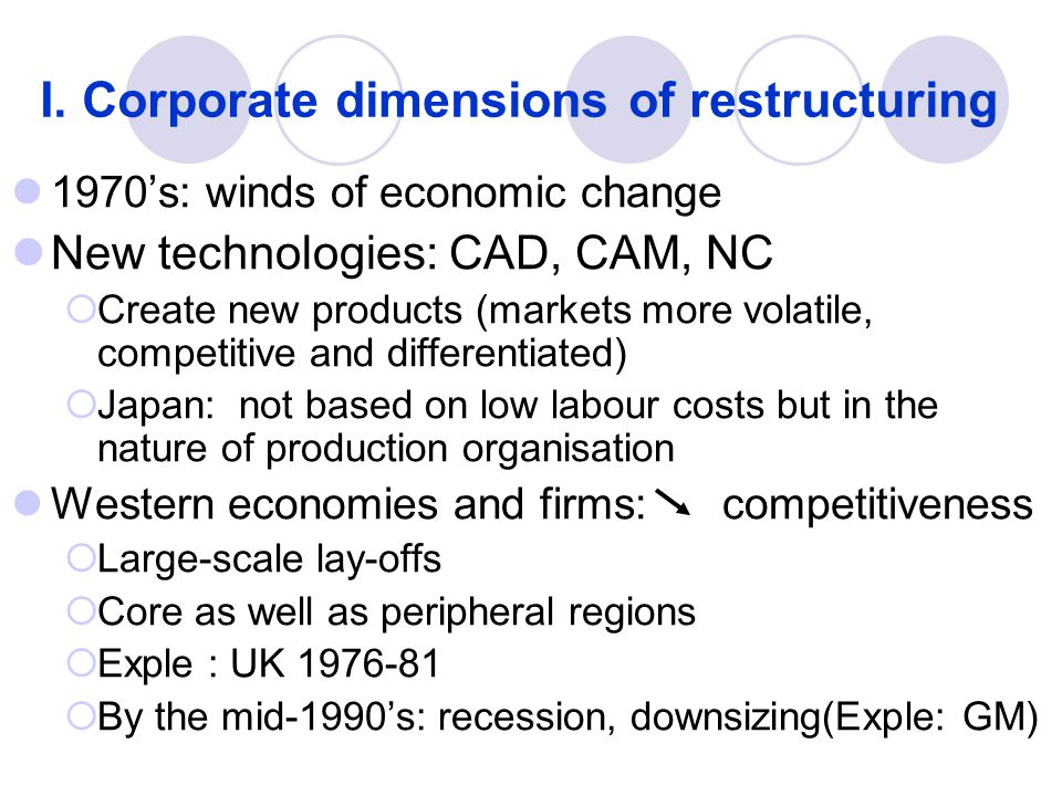 I. Corporate dimensions of restructuring 1970's: winds of economic change New technologies: CAD, CAM, NC  Create new products (markets more volatile,