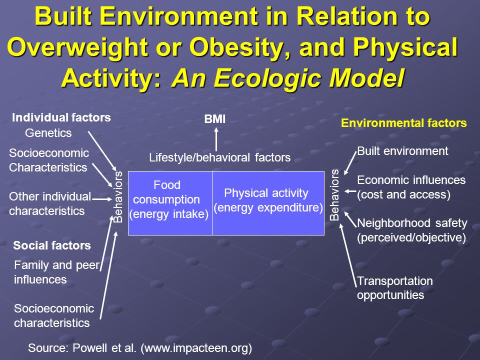 Built Environment in Relation to Overweight or Obesity, and Physical Activity: An Ecologic Model Individual factors Genetics Socioeconomic Characteristics Other individual characteristics Social factors Family and peer influences Socioeconomic characteristics Food consumption (energy intake) Physical activity (energy expenditure) Source: Powell et al.