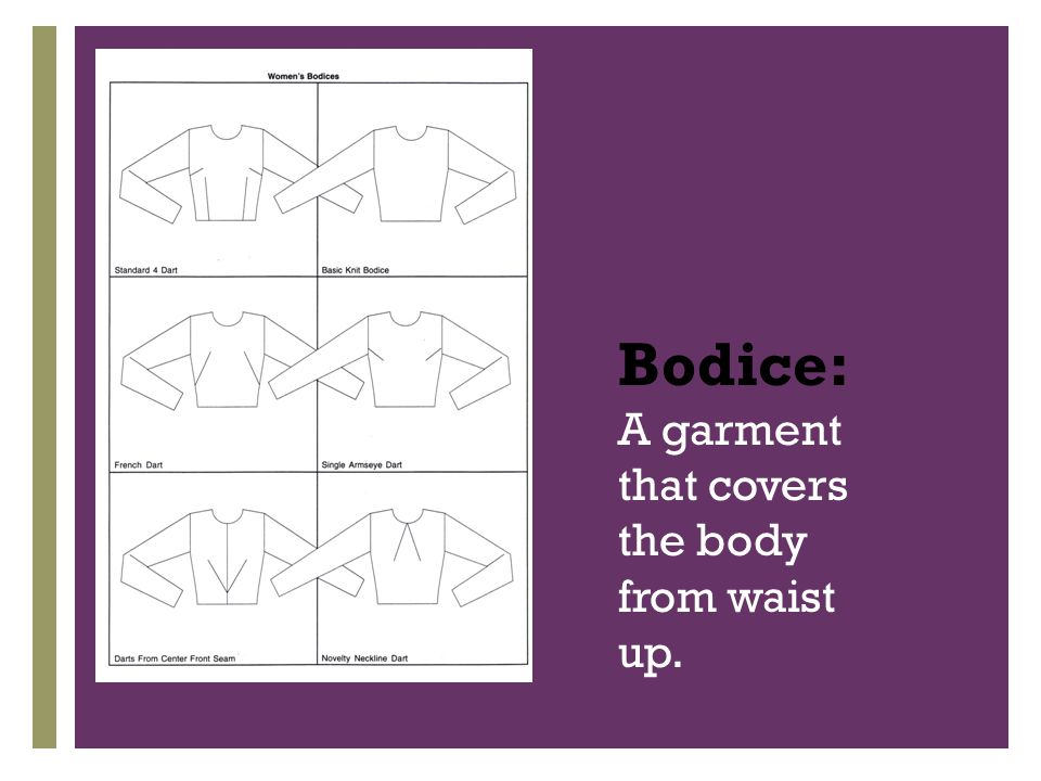 + Bodice: A garment that covers the body from waist up.