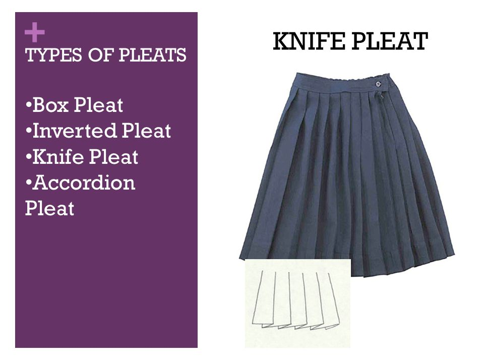 + TYPES OF PLEATS Box Pleat Inverted Pleat Knife Pleat Accordion Pleat KNIFE PLEAT