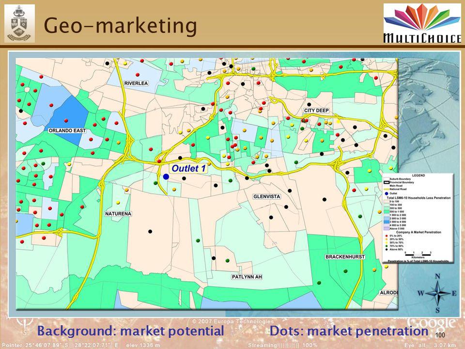 100 Geo-marketing Background: market potentialDots: market penetration