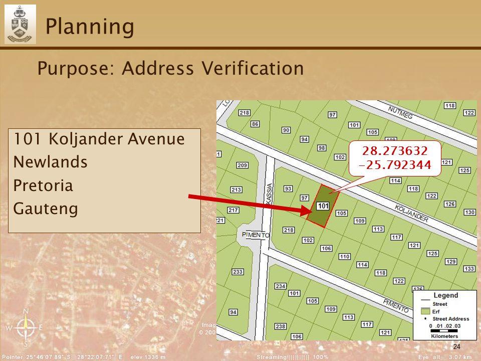24 Planning Purpose: Address Verification 28.273632 -25.792344 101 Koljander Avenue Newlands Pretoria Gauteng