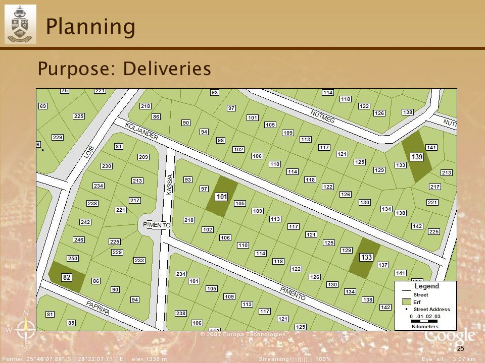 25 Planning Purpose: Deliveries