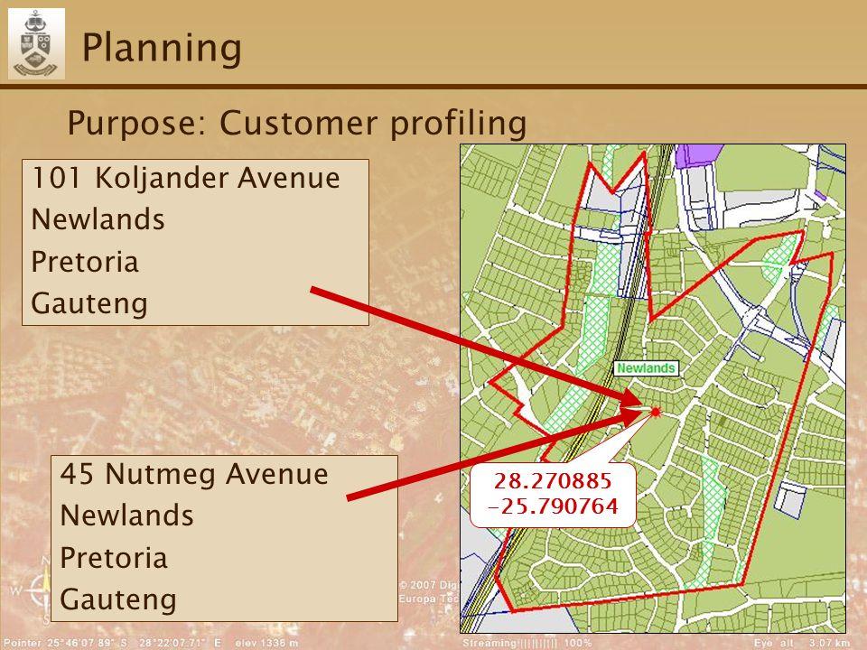 26 Planning Purpose: Customer profiling 28.270885 -25.790764 101 Koljander Avenue Newlands Pretoria Gauteng 45 Nutmeg Avenue Newlands Pretoria Gauteng