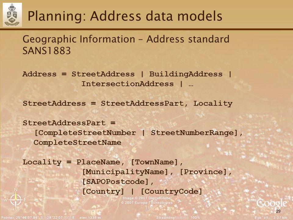 29 Planning: Address data models Geographic Information – Address standard SANS1883 Address = StreetAddress | BuildingAddress | IntersectionAddress |