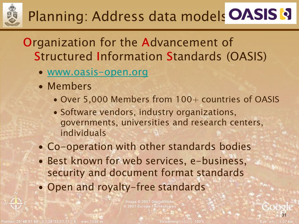 31 Planning: Address data models Organization for the Advancement of Structured Information Standards (OASIS) ∙www.oasis-open.orgwww.oasis-open.org ∙M