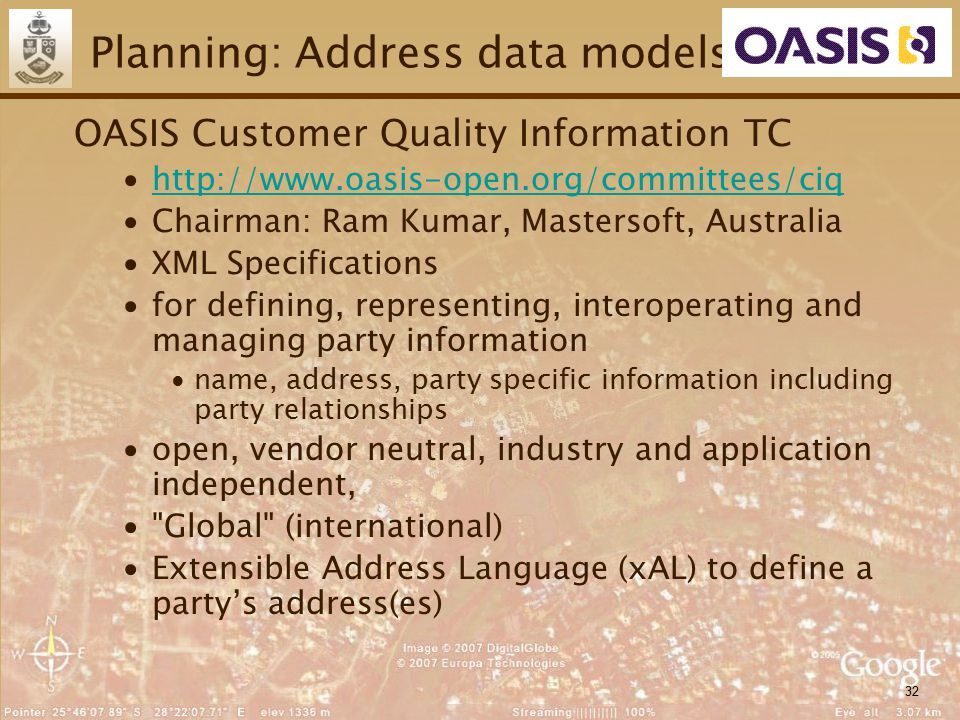 32 Planning: Address data models OASIS Customer Quality Information TC ∙http://www.oasis-open.org/committees/ciqhttp://www.oasis-open.org/committees/c