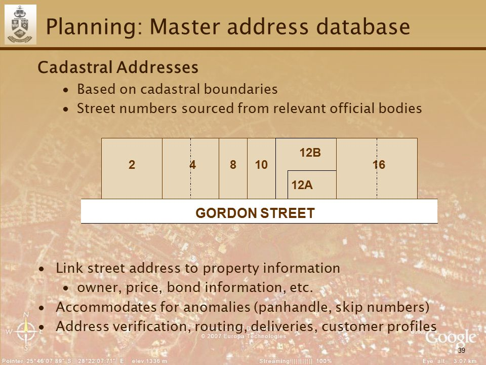 39 Planning: Master address database Cadastral Addresses ∙Based on cadastral boundaries ∙Street numbers sourced from relevant official bodies ∙Link street address to property information ∙owner, price, bond information, etc.