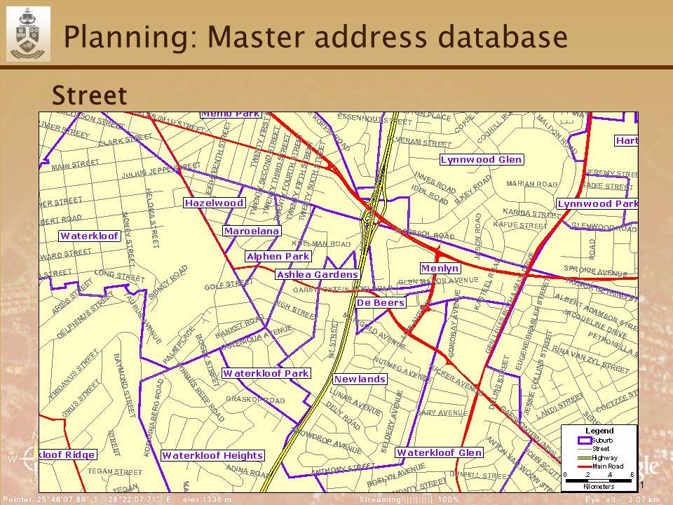 41 Planning: Master address database Street