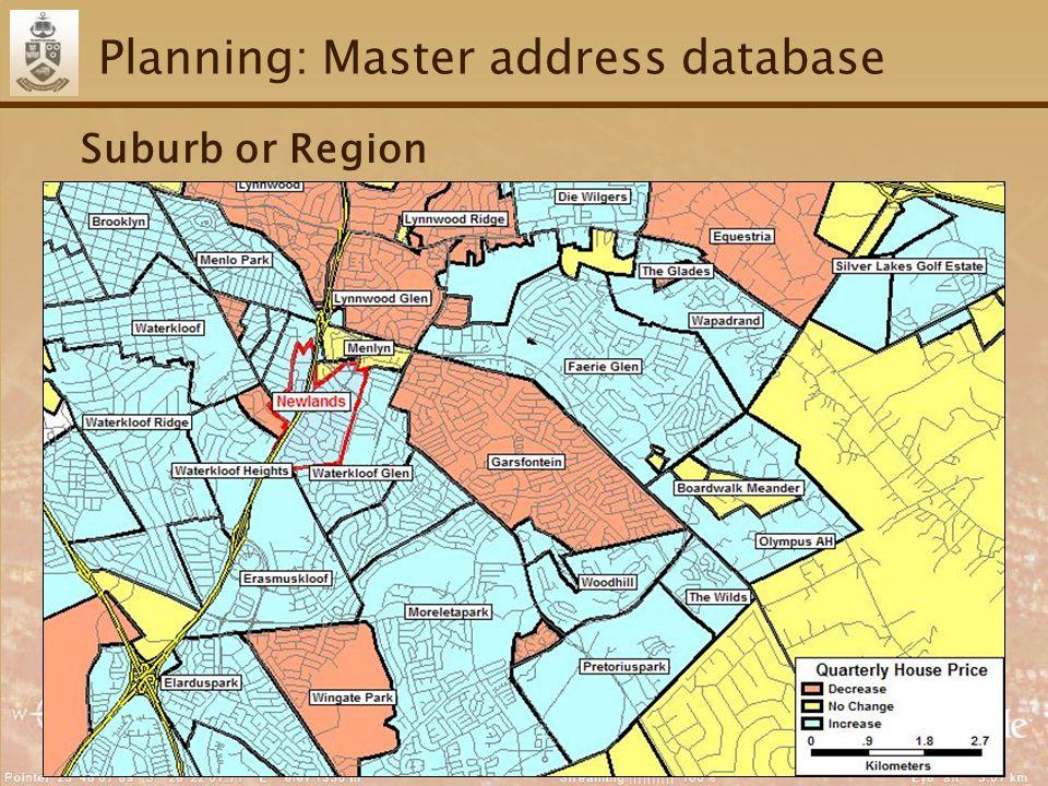 42 Planning: Master address database Suburb or Region