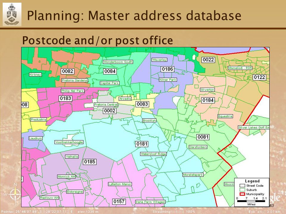 43 Planning: Master address database Postcode and/or post office