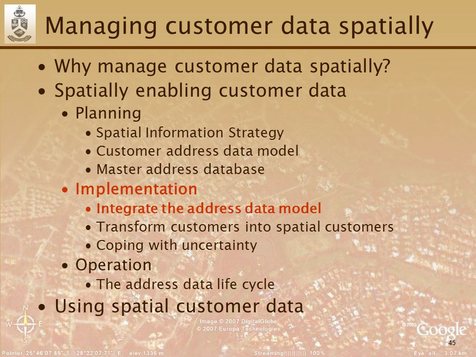 45 Managing customer data spatially ∙Why manage customer data spatially? ∙Spatially enabling customer data ∙Planning ∙Spatial Information Strategy ∙Cu