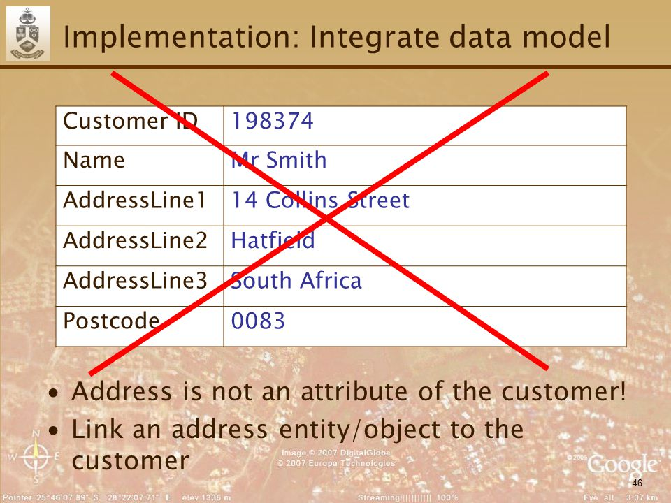 46 Implementation: Integrate data model ∙Address is not an attribute of the customer.
