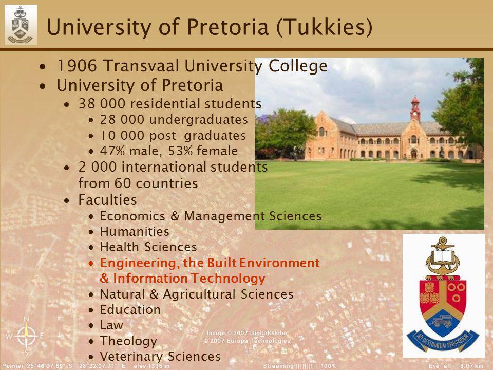5 University of Pretoria (Tukkies) ∙1906 Transvaal University College ∙University of Pretoria ∙38 000 residential students ∙28 000 undergraduates ∙10