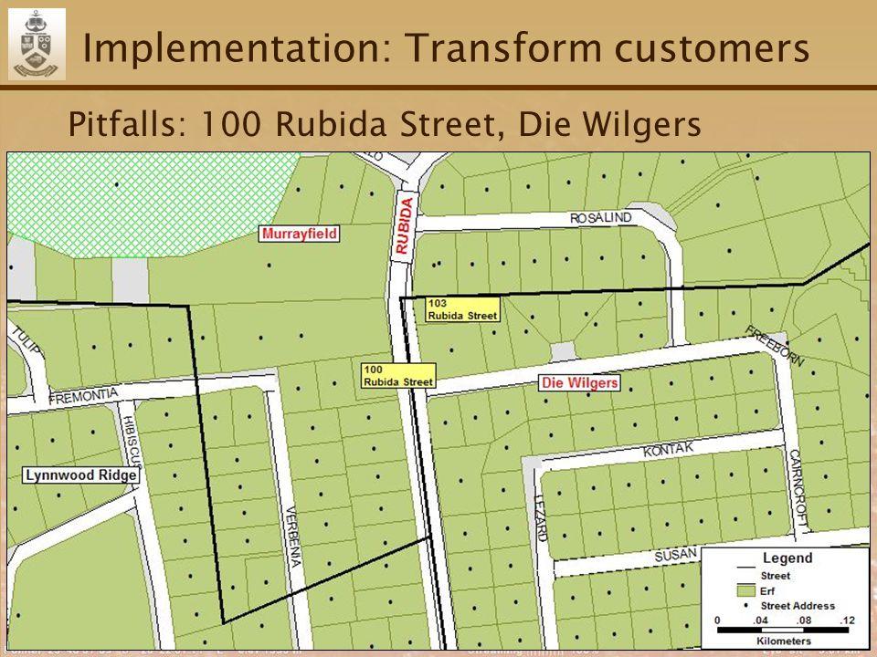 54 Implementation: Transform customers Pitfalls: 100 Rubida Street, Die Wilgers