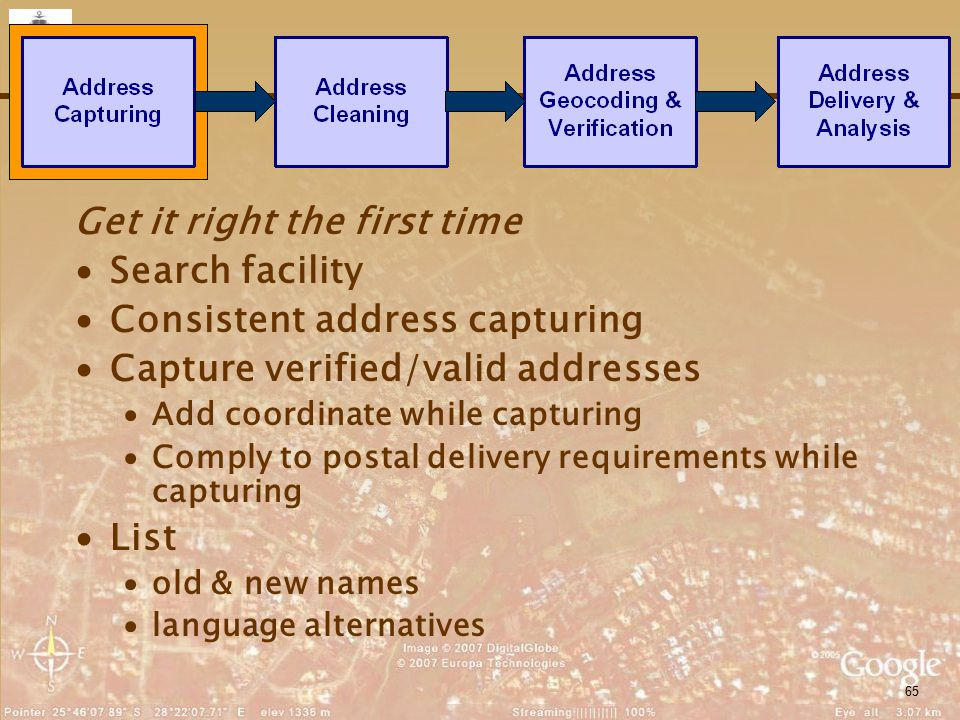 65 Get it right the first time ∙Search facility ∙Consistent address capturing ∙Capture verified/valid addresses ∙Add coordinate while capturing ∙Compl