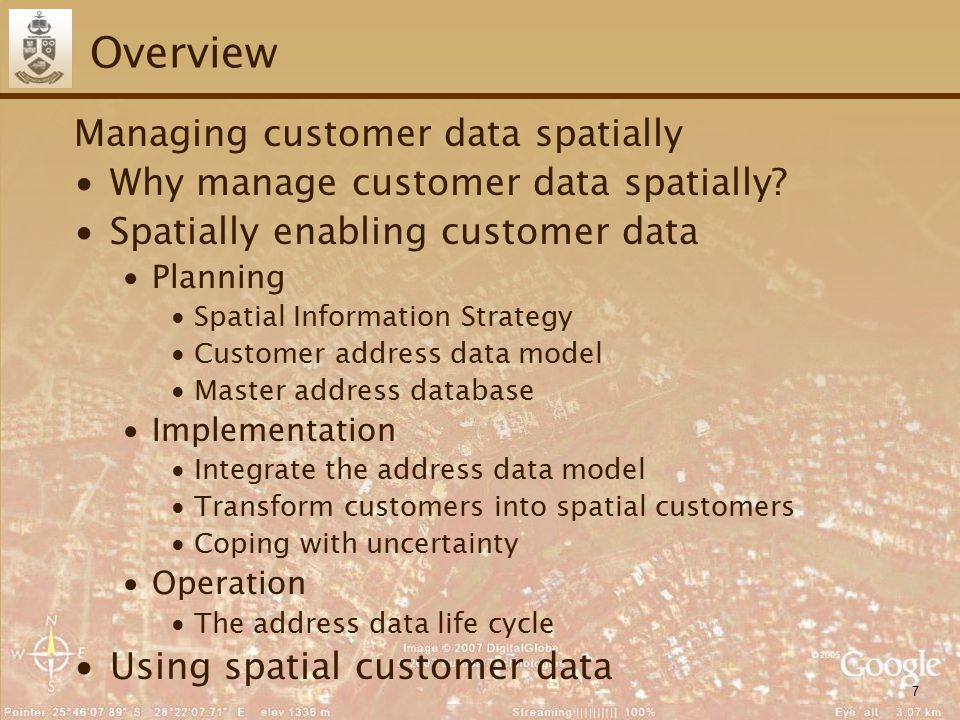 7 Overview Managing customer data spatially ∙Why manage customer data spatially.