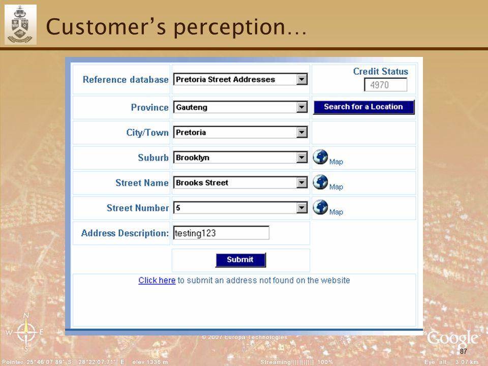 87 Customer's perception…