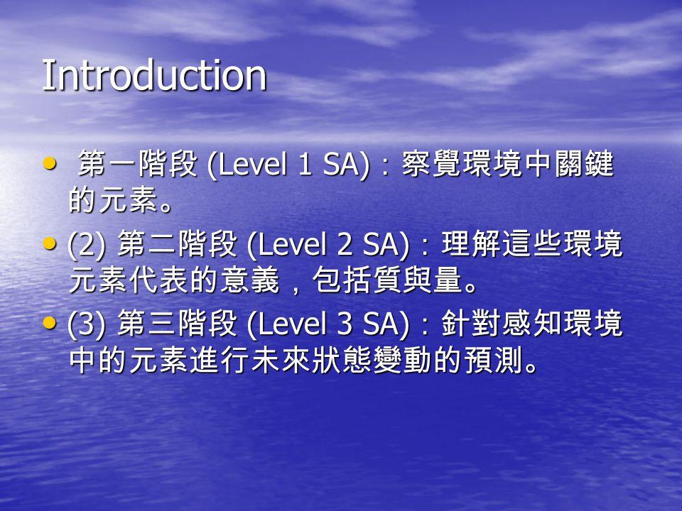 Introduction 第一階段 (Level 1 SA) :察覺環境中關鍵 的元素。 第一階段 (Level 1 SA) :察覺環境中關鍵 的元素。 (2) 第二階段 (Level 2 SA) :理解這些環境 元素代表的意義,包括質與量。 (2) 第二階段 (Level 2 SA) :理解這些環境 元素代表的意義,包括質與量。 (3) 第三階段 (Level 3 SA) :針對感知環境 中的元素進行未來狀態變動的預測。 (3) 第三階段 (Level 3 SA) :針對感知環境 中的元素進行未來狀態變動的預測。
