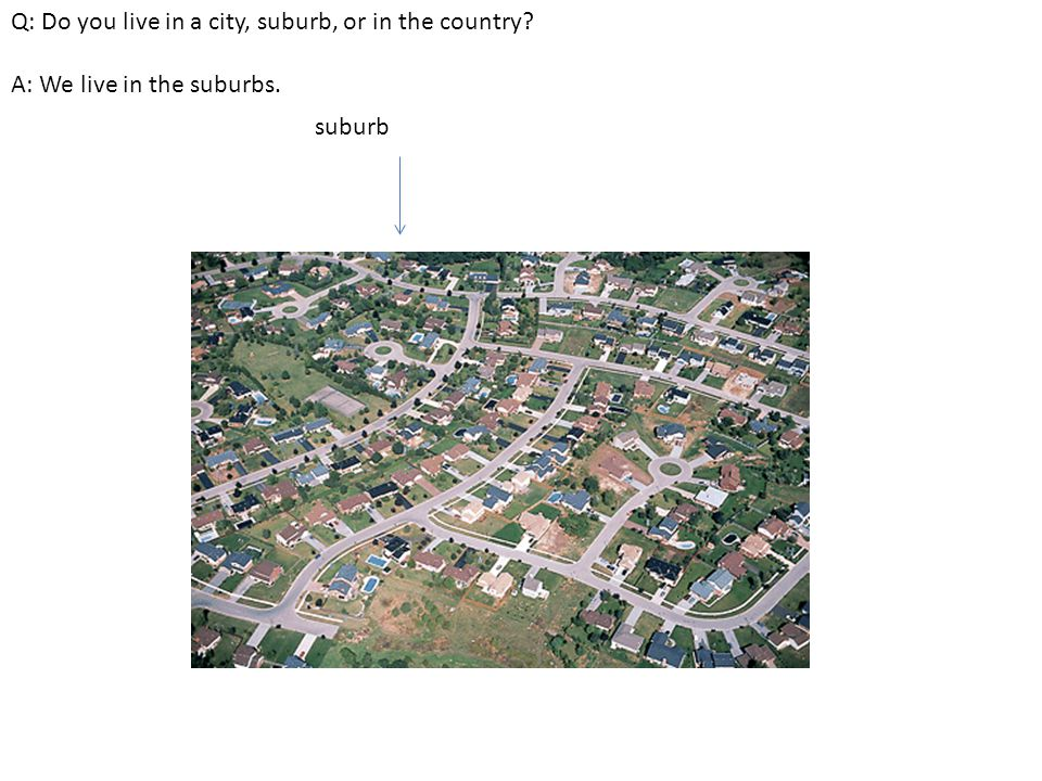 Q: Do you live in a city, suburb, or in the country? A: We live in the suburbs. suburb