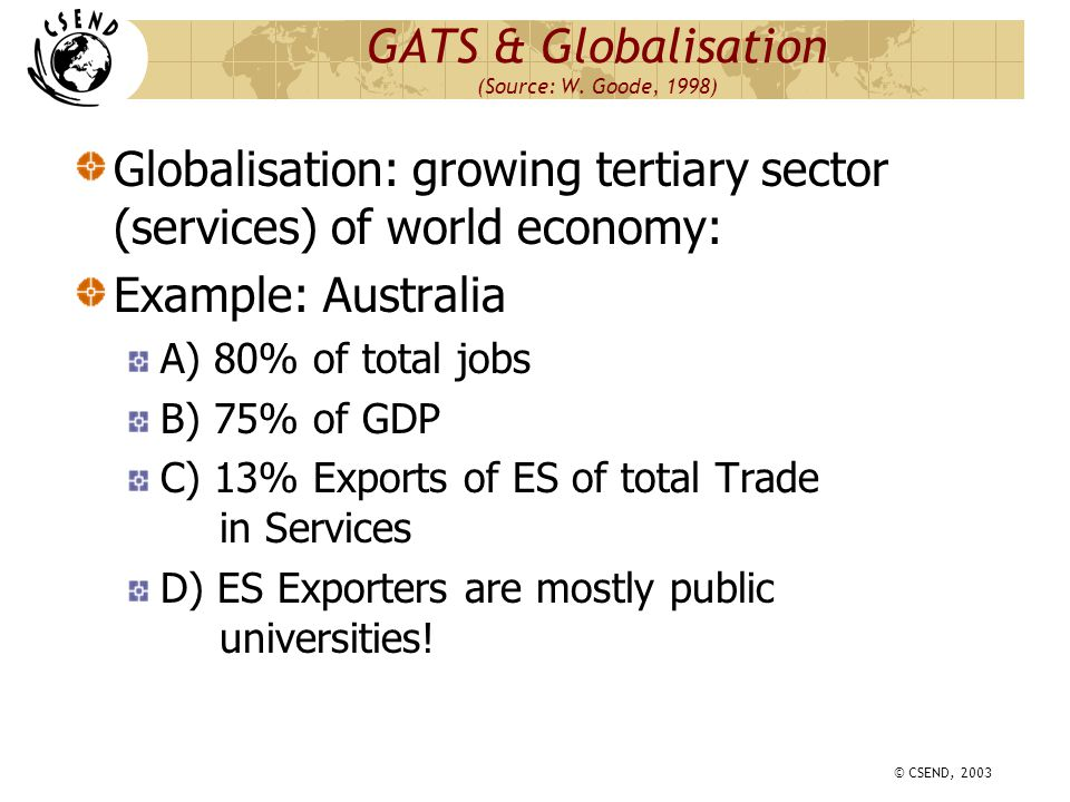 © CSEND, 2003 GATS/ES: Historical Perspective 1.1947: GATT 18 members 2.1966: Swiss membership 3.1986-1994 UR 4.1995: WTO (110 members a) GATT (goods) b) GATS(services) c) TRIPS (Ips) 5.