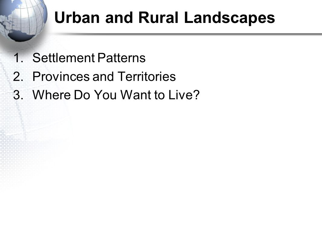 Urban and Rural Interactions There has been significant movement of people in Canada between urban and rural areas over time.