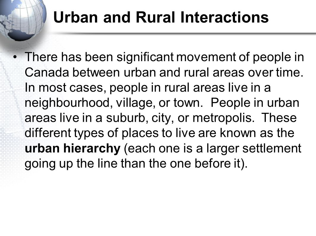 Urban Hierarchy neighbourhood village town suburb city metropolis