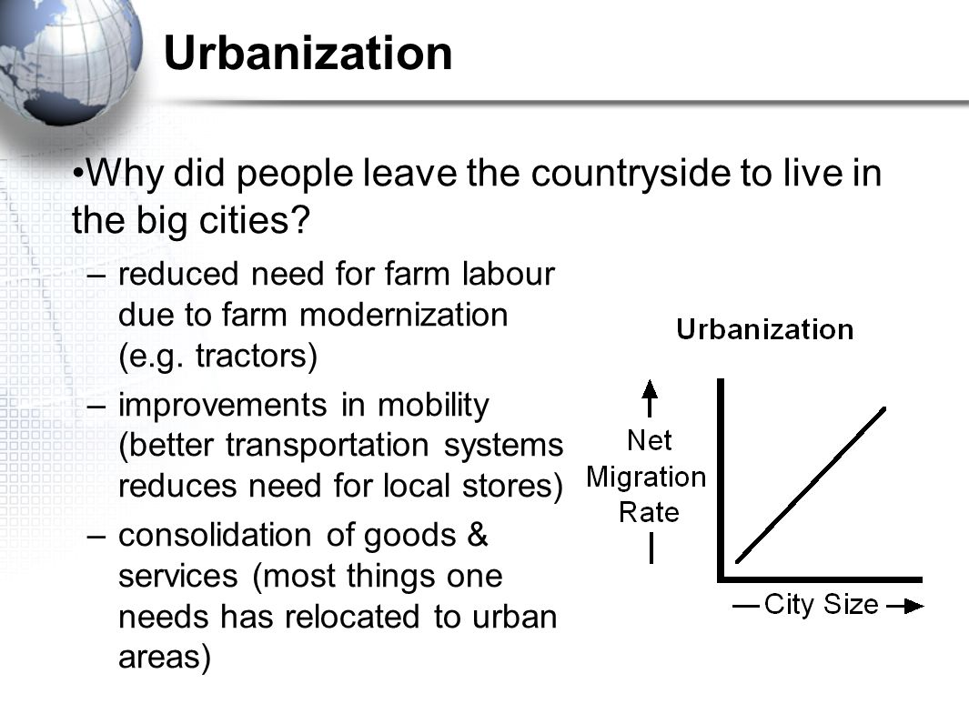 Urbanization –reduced need for farm labour due to farm modernization (e.g. tractors) –improvements in mobility (better transportation systems reduces