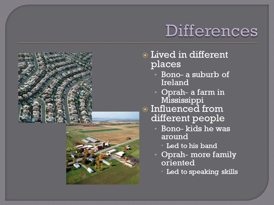  Lived in different places Bono- a suburb of Ireland Oprah- a farm in Mississippi  Influenced from different people Bono- kids he was around  Led to his band Oprah- more family oriented  Led to speaking skills