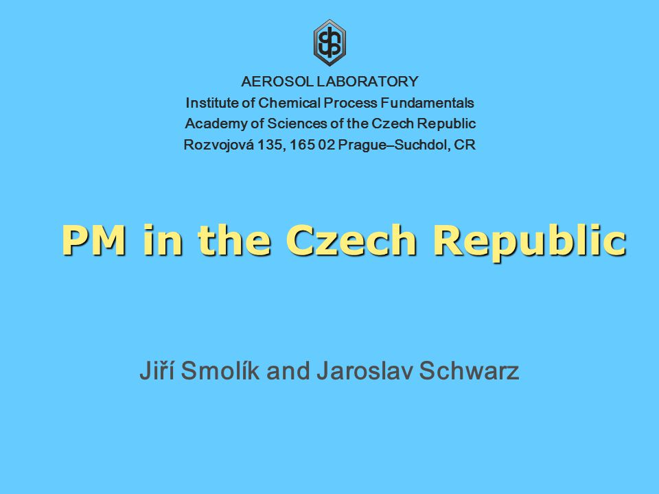 Institute of Chemical Process Fundamentals, Academy of Sciences of the Czech Republic 12 SUB-AERO