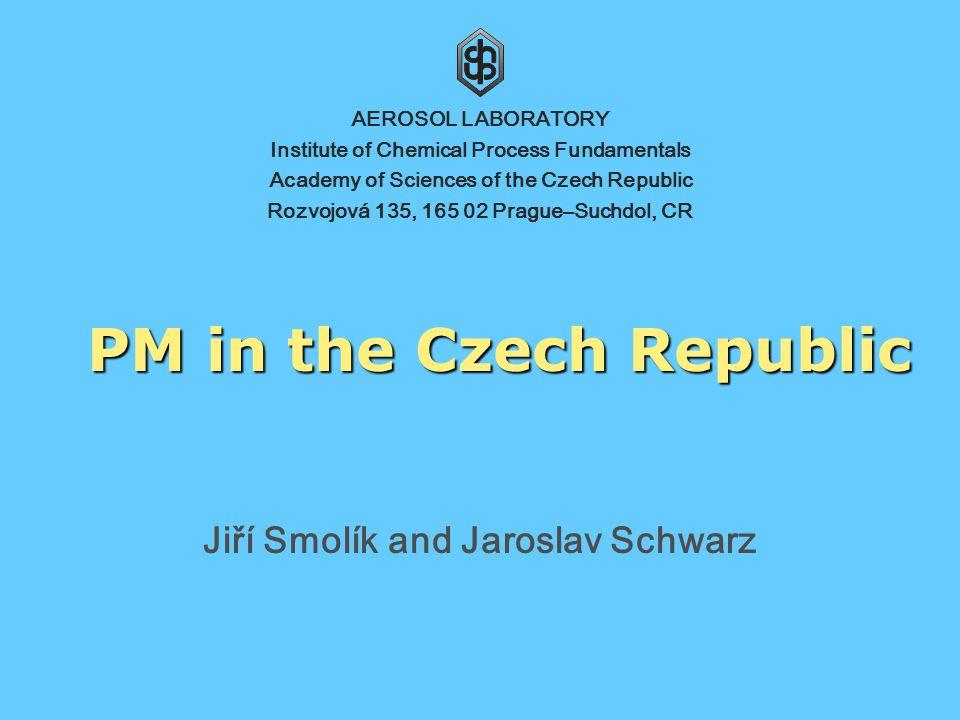 Institute of Chemical Process Fundamentals, Academy of Sciences of the Czech Republic 2 Monitoring Czech Hydrometeorological Institute (95) www.chmi.cz Public Health Service + National Institute of Public Health + Others (24) www.szu.cz PM10 (119) + PM2,5 (5)