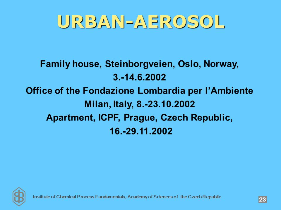 Institute of Chemical Process Fundamentals, Academy of Sciences of the Czech Republic 23 URBAN-AEROSOL Family house, Steinborgveien, Oslo, Norway, 3.-14.6.2002 Office of the Fondazione Lombardia per l'Ambiente Milan, Italy, 8.-23.10.2002 Apartment, ICPF, Prague, Czech Republic, 16.-29.11.2002