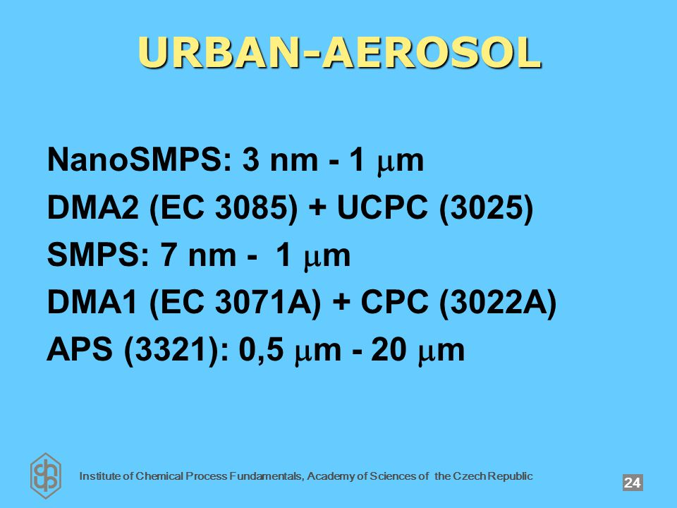 Institute of Chemical Process Fundamentals, Academy of Sciences of the Czech Republic 24 URBAN-AEROSOL NanoSMPS: 3 nm - 1  m DMA2 (EC 3085) + UCPC (3025) SMPS: 7 nm - 1  m DMA1 (EC 3071A) + CPC (3022A) APS (3321): 0,5  m - 20  m