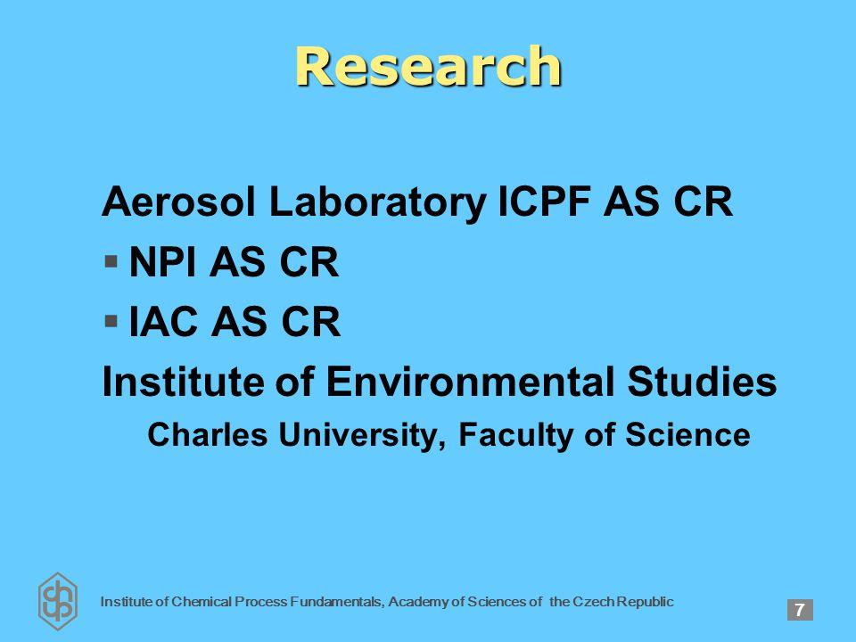 Institute of Chemical Process Fundamentals, Academy of Sciences of the Czech Republic 38 PRAGUE AEROSOL