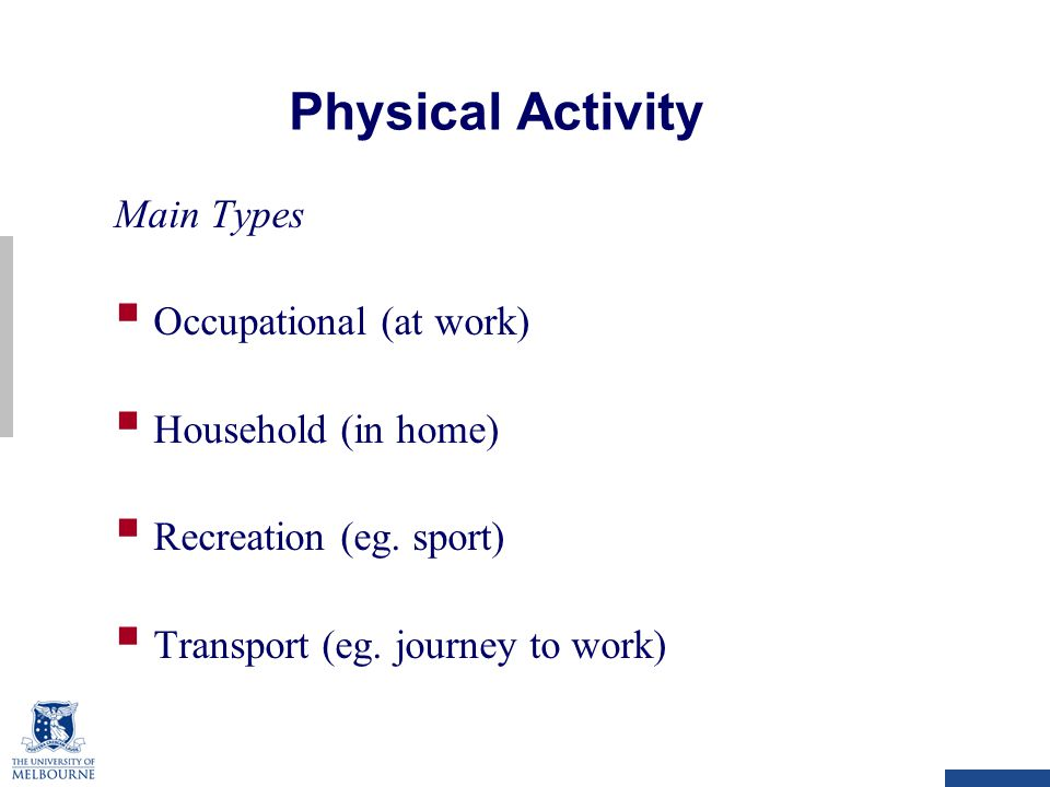 Physical Activity Main Types  Occupational (at work)  Household (in home)  Recreation (eg.