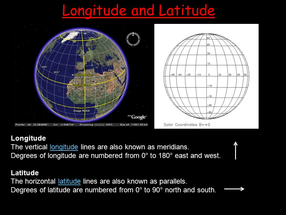 Longitude The vertical longitude lines are also known as meridians.longitude Degrees of longitude are numbered from 0° to 180° east and west. Latitude