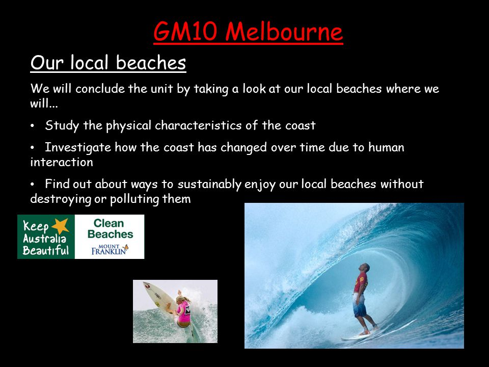 Our local beaches We will conclude the unit by taking a look at our local beaches where we will...